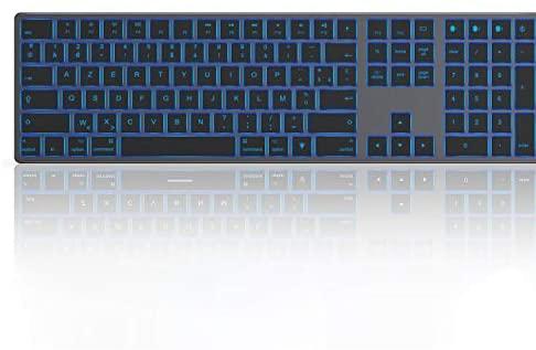 Jelly Comb Clavier Bluetooth Multi-appareils pour Mac, Clavier Azerty avec 3 Canal Bluetooth, Rétro-éclairé, Ultra-Mince à Pleine Taille pour MacBook/iMac/Mac OS,Gris