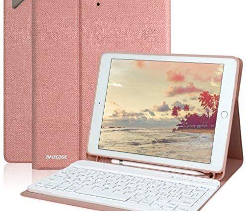 Coque avec clavier pour iPad 9.7 pour iPad 6e génération 2018 iPad 5e génération 2017 iPad Pro 9.7 iPad Air 2 Air 1 avec clavier Bluetooth amovible sans fil coque pour iPad-Porte-stylos (Champagne)